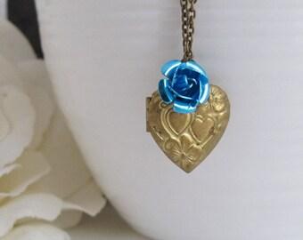 Vintage Style Aged Brass Heart Locket, Blue Rose Pendant, Photo Trinkets locket, Love Gift. Love keepsake. Valentines Day, Friendship Gift