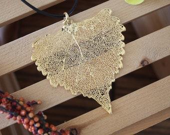 Gold Leaf Necklace, Real Leaf, Leaf Pendant, Cottonwood Real Leaf , 24kt Gold, 34 L