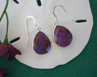 Purple Teardrop Earrings Sterling Silver, Purple, Turquoise Earrings, Tear Drop Gemstone