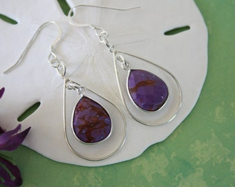 Purple Hoop Earrings Sterling Silver, Purple Turquoise Earrings, Silver Hoops, Tear Drop Hoops, Dangle Earrings