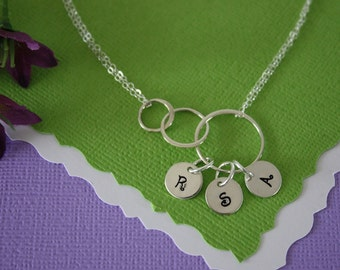 Personalized Mother Infinity Necklace, BFF, Infinite Friendship, Sterling Silver, Karma, Circles