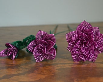 3 french beaded flowers handmade roses different sizes magenta color