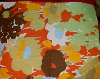 Vintage Fabric Sample, Soft Fall Colors, Pastel Colors 1970's Fabric Panel, Pillow Fabric