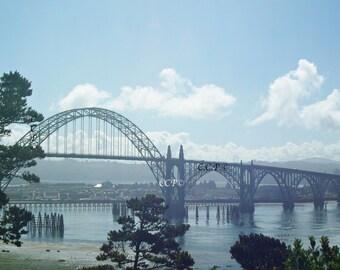 Newport Oregon, Bridge Photography, Architecture Print, Blue And Silver, Gray Bridge Decor, White Clouds, 12 x 18 Wall Decor, Office Decor