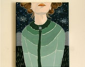 green sweater - Original Acrylic Painting