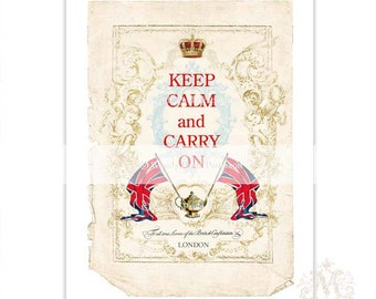 Keep Calm and Carry On print, Union Jack print, British flag print, Typography, Poster, London, red, white, blue, crown, teapot, vintage art