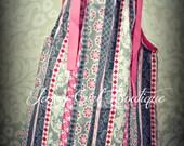 Girls Pillowcase Dress Grey and Pink Floral Stripe with Hot Pink Ribbon Ties Sz 6mo, 12mo, 18mo, 2T, 3T, 4T, 5 Sz 6, 7, 8 Three Dollars More