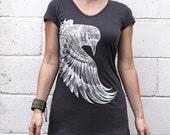 Charcoal Tee, Organic cotton Original art of a detailed handpainted Raven
