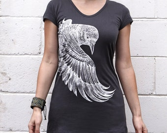 Printed Top, Charcoal Tee, Organic Tee, Cotton Top, Raven Top, Digital Print Top, Workout Top, Art Tunic Top, Long Top, Boho Tunic,Wings Top