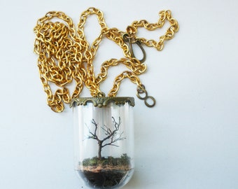 Winter's bones. Tiny tree in a glass dome necklace