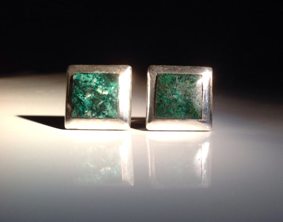 Taxco Sterling Silver and Turquoise Cufflinks