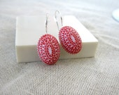 Red etched earrings