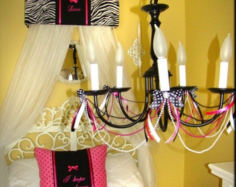 Zebra Bed Canopy Crib Crown HOT Pink Animal Print SaLe Embroidered Bedroom Decor