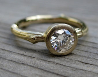 Moissanite Twig Engagement Ring: Recycled Gold; Half-Carat Forever Brilliant ™