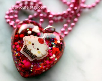 Little Girl Gift, Heart Charm Necklace, Red Heart Pendant Necklace, Cute Gift for Girls, Sparkly Glitter Cupcake Charm Handmade by isewcute