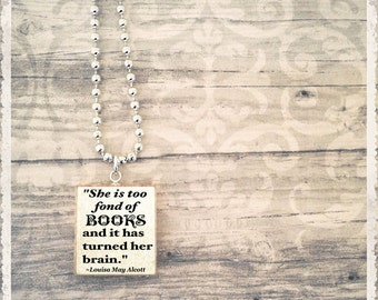Scrabble Necklace, Book Necklace, Literary Jewelry, Scrabble Jewelry, Book Quote Necklace, Too Fond Of Books, Gift For Her
