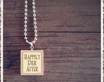 Scrabble Game Tile Jewelry - Happily Ever After - Scrabble Pendant Charm - Customize