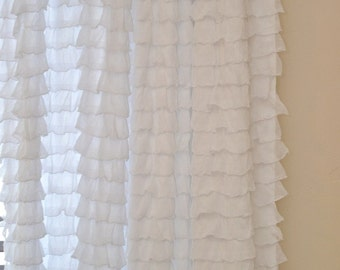 Ruffle Curtain Panel, White, or You pick the Color 96 Inches long x 44 inches wide - White Window Treatment - White Curtain - Long Window