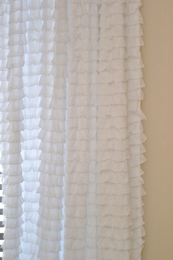 Ruffle Curtain Panel White Or You Pick The By Avisiontoremember