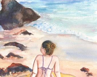 Girl at the Beach,  woman art, kee beach watercolor, Kee Beach art