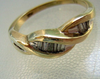 Diamond Ring Vintage 10k Yellow Gold Baguettes & Trapeze Cut Channel Set - Accent Cocktail Promise or Anniversary - Ladies Size 6.5
