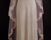 Pale Rose Swiss Dot Mantilla Veil With Blush Alencon Lace - One Of A Kind