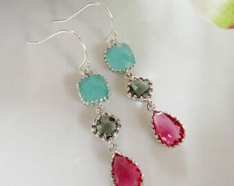 Red Glass Earrings, Aqua Earrings, Long Dangle Earrings, Silver Edged Earrings, Bridesmaid Jewelry, Wedding Earrings