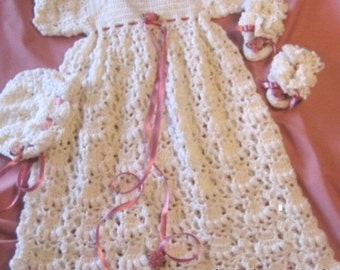 Crochet Pattern for Baby........ Christening Gown, Bonnet and Booties-16