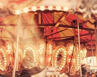 Carousel photography art for nursery, carnival ride print, merry go round art, nursery print, children's wall art, nursery decor,