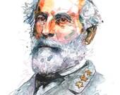 Watercolor painting-portrait of Confederate Civil War General Robert E. Lee