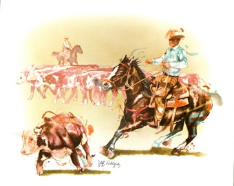 Watercolor painting of cowboy cattle western roundup