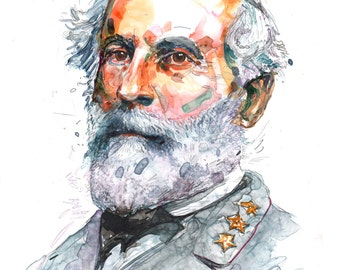 Watercolor painting-portrait of Confederate Civil War General Robert E. Lee