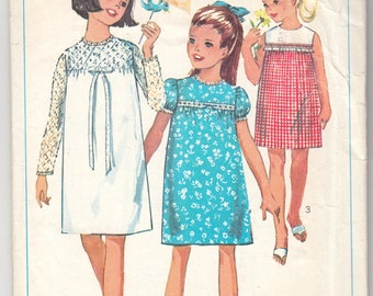 "1960's Vintage Sewing Pattern Girls' Dress Simplicity 6379 30"" Bust - Free Pattern Grading E-book Included"