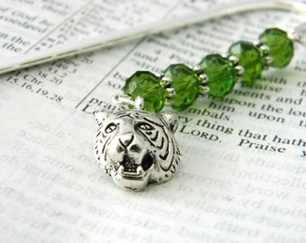 Tiger Bookmark with Green Glass Beads Silver Plated Steel Bookmark Tiger Head Charm
