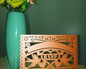Laser cut  RSVP - Papel Picado Inspired Wedding 5x7 card Rehearsal Engagement Bridal Shower Couples