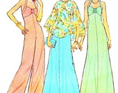 1970s Dress or Jumpsuit Pattern Halter Neck Wide Leg Jumpsuit Halter Neck Maxi Dress Poncho Vintage Sewing Pattern Simplicity 6939 Bust 34