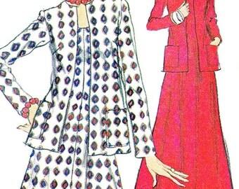 1970s Dress Pattern and Jacket Very Easy Vogue 8818 Flared Skirt Sleeveless Midi Dress Maxi Dress Boxy Jacket Vintage Sewing Pattern Bust 34