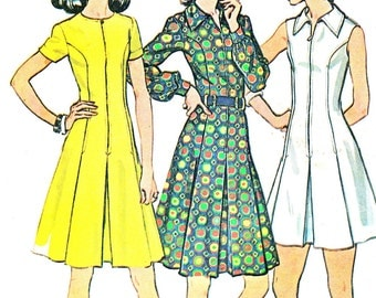 1970s Dress Pattern McCalls 3611 Princess Seam Fit and Flare Dress Flared Skirt Dress Womens Vintage Sewing Pattern Plus Size Bust 45 Uncut