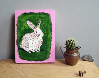 Rabbit painting on wood board