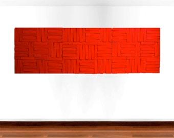 Wood Wall Art | Wood Art | Original Art | Large Painted Wall Sculpture | Red Wall Decor | Custom 3D Art | Rosemary Pierce Modern Art