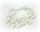 Swarovski Pearl Bridal Bracelet, Pearl and Clear Crystal Cluster or Charm style Bracelet, Sterling Silver
