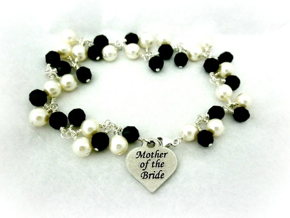 Mother of the Bride or Groom Confetti Wedding Bracelet- Swarovski Crystal and Pearl- Pick Your Own Colors