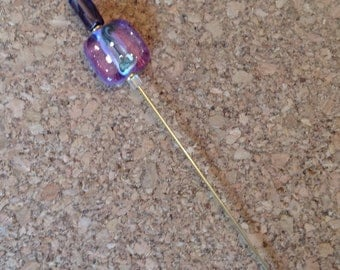 Beaded Stick Pin - Mauve Square