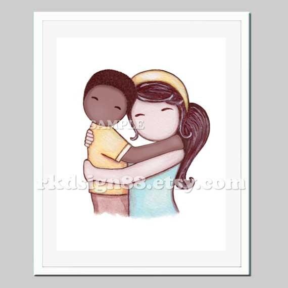 Adoption art print baby boy nursery, boys wall art adoption gift, children art, kids decor, African boy brown hair mom - Proud Of You 8x10