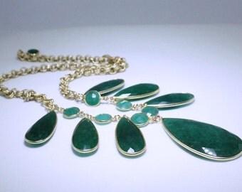 Green Emerald Necklace Adjustable Statement Necklace Genuine Emerald Real Emerald May Birthstone Precious Emerald Jewelry BZ-N-139-Em