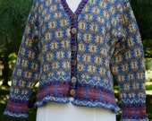 Cornflower Blue Colorwork Sweater in Hand Dyed Wool with Brass Buttons