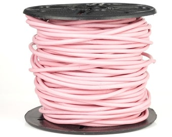 2mm Leather Cord - LIGHT PINK - 25 Yards Leather Lace - Soft Pastel Pink Round Leather Cord for Wrap Bracelets