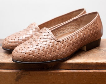 Vintage Tan Huaraches Woven Leather Flats - Size 7