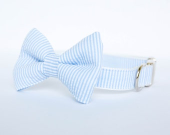 Seersucker Bow Tie Dog Collar - Your choice of color (shown in Light Blue)