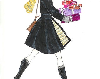 Girl Shopping, Watercolor Fashion Illustration, Fashion Fashion Wall Art, Girls Room Decor